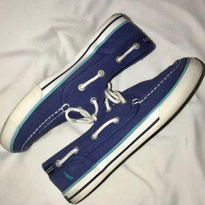 3/$30 Nautica Blue Canvas Boat Shoe Boys Sz 3 EUC
